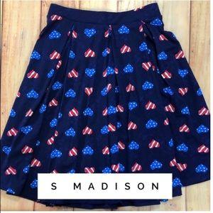 LuLaRoe Skirts - LuLaRoe Red, White, and Blue Madison